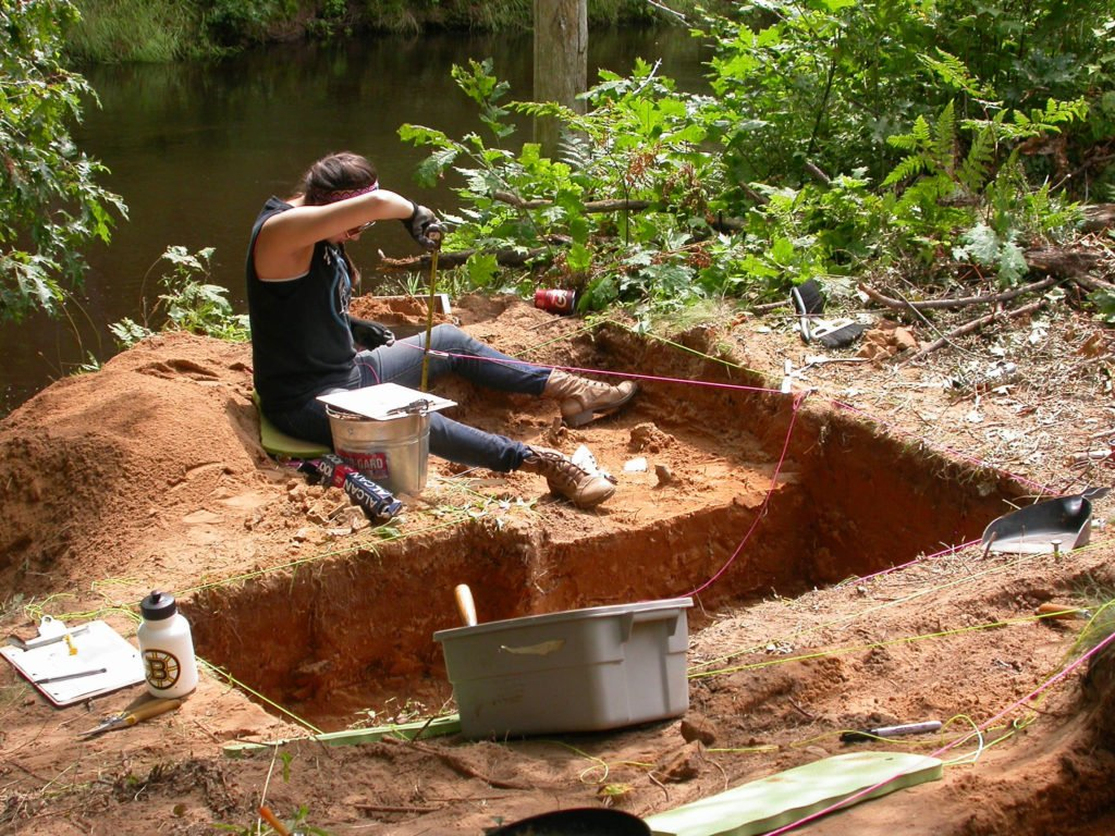 KMKNO Summer Student, Jodi Howe, taking vertical measurements of an arefact she just uncovered during her fieldwork. Photo by: Mike Deal